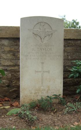 Headstone of Pte R Taylor, Ranville Churchyard, August 2010.