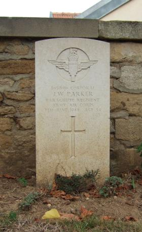 Headstone of Cpl John Parker, Ranville Churchyard, August 2010.