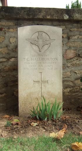 Headstone of Lt Thomas Halliburton, Ranville Churchyard.