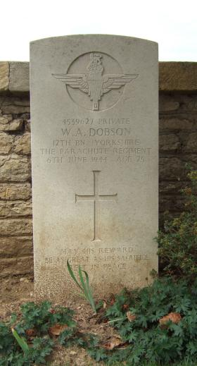 Headstone of Pte W Dobson, Ranville Churchyard, August 2010.