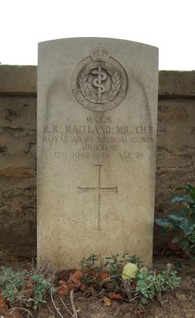 Headstone of Major Maitland, Ranville Churchyard, August 2010.