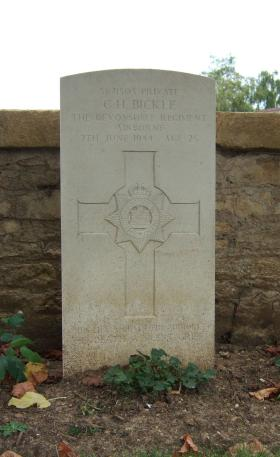 Headstone of Pte George Bickle, Ranville Churchyard, August 2010.