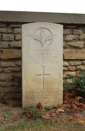 Headstone of Pte A Fryer, Ranville Churchyard, taken August 2010.