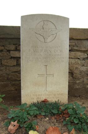 Headstone of Sgt F Milburn, Ranville Churchyard, taken August 2010.