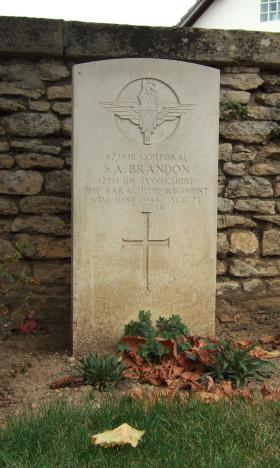 Headstone of Cpl Samuel Brandon, Ranville Churchyard.