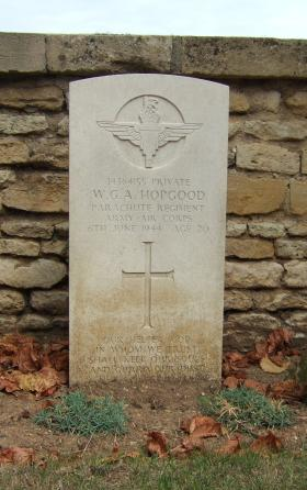Headstone of Pte W Hopgood, Ranville Churchyard, taken August 2010.