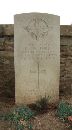 Headstone of Pte P Wilford, Ranville Churchyard, August 2010.