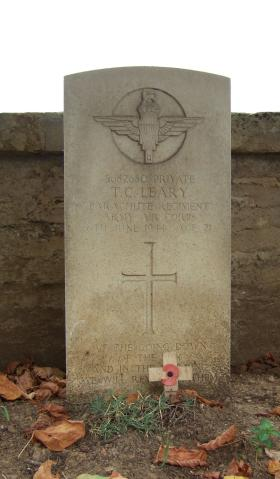 Headstone of Pte T Leary, Ranville Churchyard, August 2010.