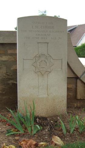 Headstone of L/Cpl L Chubb, Ranville Churchyard, taken August 2010
