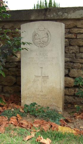 Headstone of Sgt A Rigg, Ranville Churchyard, August 2010.
