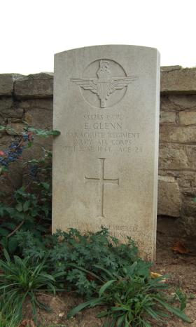 Headstone of L/Cpl E Glenn, Ranville Churchyard, taken August 2010.