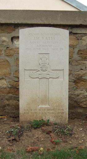 Headstone of Bdr John Yates, Ranville Churchyard, August 2010.