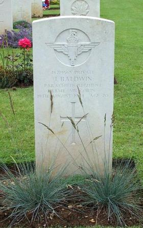 Headstone for Private John Baldwin, Ranville War Cemetery, Normandy.