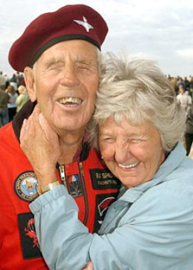 Ray Sheriff and his wife, after another successful jump.