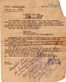 Reporting Instructions for Officer Selection Board 1942