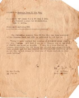 Message from the King 22 June 1944