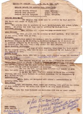 Company Detail confirming Bill Burns promoted to Acting CSM 17 May 1941
