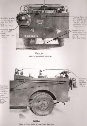 Document detailing the rear and side view of modified M3 Scout Car, AFDC, 1945.