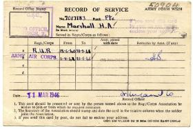 Harry Marshalls record of service