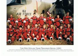 Group photograph of the 'Red Devils' display team while training in Kenya, 1990.