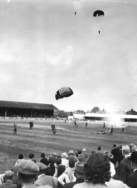 The Parachute Regiments Freefall Team landing at a public display, 1964