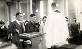 Pte Foley at the alter, Romford, June 1945.