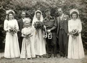 Pte Reginald Foley's and Nellie Tuckey's wedding day, Romford, 9 June 1945.