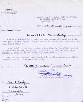 Letter to Mrs Bailey responding to a letter regarding Pte Thomas Bailey's MIA status, 19 Dec 1944.