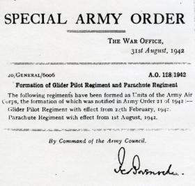 Special Army Order detailing the formation of the Army Air Corps, Glider Pilot Regiment and Parachute Regiment, August 1942