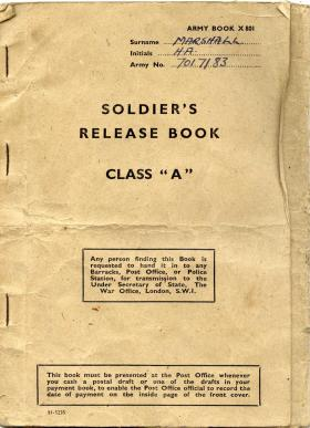 Pte Harry Marshall's Release Book