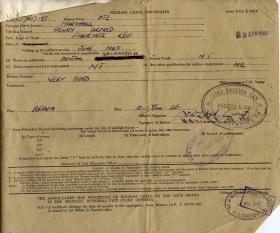 Release Leave Certificate for Pte Harry Marshall, 1946
