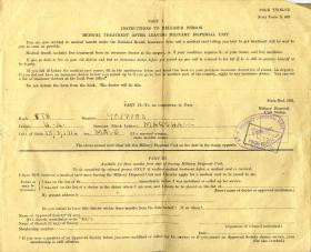 Medical Release Form X 402 for Pte Henry Marshall, 1946