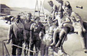 Sgt Dick Southwood with members of 113 Squadron, Dakota Flight, RAF Aqir, Palestine, 22 November 1946
