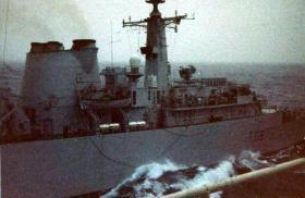Resupply in rough seas between HMS Broadsword and MV Norland, 1982