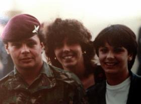 Pte Robert Wade with his sisters on his return from the Falklands, 1982.