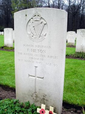 Headstone of Rifleman Francis Hilton,  Reichwald Forest Cemetery, Germany, March 2006.