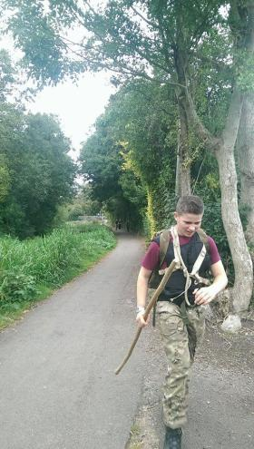 Rhys Cooper walking 20 miles for The Parachute Regiment Charity, September 2014.