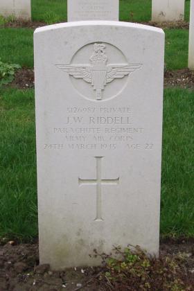 Headstone of Pte JW Riddell, Reichswald Forest War Cemetery, 2010.