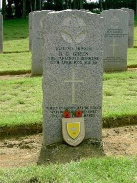 The grave of Pte Robert Green, Kranji Military Cemetery, Singapore. 2007.