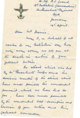 Letter from Lt Col Luard to the family of Pte Robert Irvine, Apr 1945.