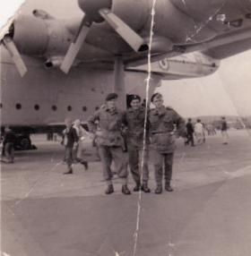 Robert McIntyre (centre) with colleagues in front of a Beverley at an air show