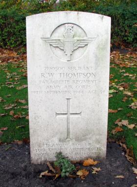 Headstone of Sgt Robert Thompson, Oosterbeek War Cemetery, Arnhem, 2009.