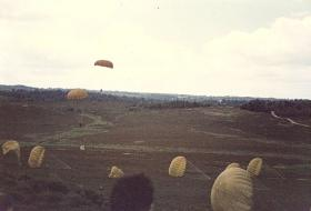 Members of 10 PARA landing on Hankley Common, Airborne Forces Day 1985