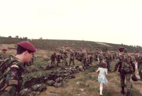 10 PARA after drop onto Hankley Common, Airborne Forces Day, 1985.