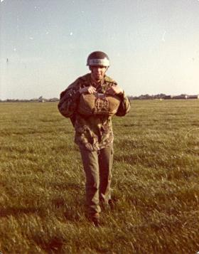 Pte Mark Ross after 1st aircraft descent, May 1977