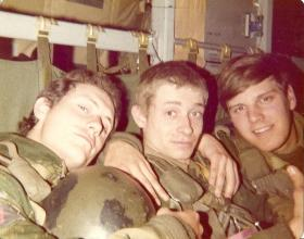 Members of 10 PARA onboard a C130 bound for a drop on Hankley Common 1977