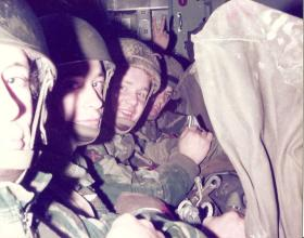 Members of 10 PARA onboard a C130 bound for a drop onto Hankley Common 1977