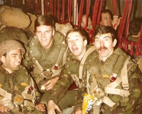 Members of 3 Coy 10 PARA onboard a C130 for a drop onto the Isle of Man, June 1979.