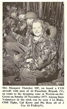 The Right Hon Margaret Thatcher MP onboard a C130 to watch 3 Coy 10 PARA jump Nov 1977