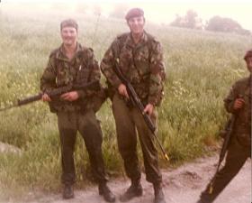 Members of 3 Coy (10 PARA) on Bn Exercise Salisbury Plain 1982.